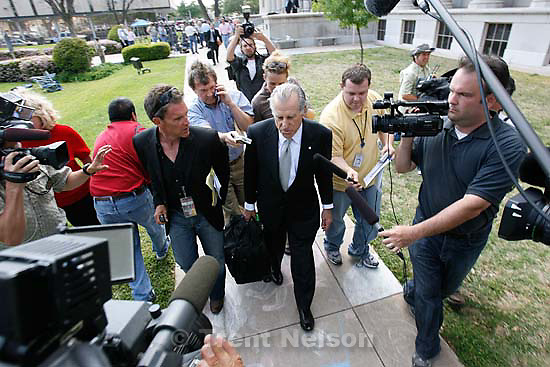 """San Angelo -  A hearing at the 51st District Court Wednesday, April 9, 2008, where a judge ruled three members of the FLDS polygamous sect have the legal right to challenge the massive search underway on their property near Eldorado, the YFZ """"Yearning for Zion"""" Ranch.; 04.09.2008 Attorney Gerald Goldstein, mike watkiss"""