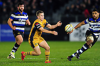 Billy Searle of Bristol Rugby passes the ball. Aviva Premiership match, between Bath Rugby and Bristol Rugby on November 18, 2016 at the Recreation Ground in Bath, England. Photo by: Patrick Khachfe / Onside Images