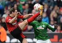FUSSBALL   1. BUNDESLIGA   SAISON 2012/2013    31. SPIELTAG Bayer 04 Leverkusen - SV Werder Bremen                  27.04.2013 Philipp Wollscheid (Bayer 04 Leverkusen) gegen Joseph Akpala (re, SV Werder Bremen)