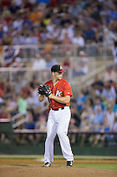 Kannapolis Intimidators relief pitcher Ian Hamilton (12) in action against the Hagerstown Suns at Kannapolis Intimidators Stadium on July 4, 2016 in Kannapolis, North Carolina.  The Intimidators defeated the Suns 8-2.  (Brian Westerholt/Four Seam Images)