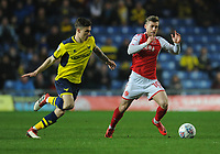 Fleetwood Town's Conor McAleny under pressure from Oxford United's Josh Ruffels<br /> <br /> Photographer Kevin Barnes/CameraSport<br /> <br /> The EFL Sky Bet League One - Oxford United v Fleetwood Town - Tuesday 10th April 2018 - Kassam Stadium - Oxford<br /> <br /> World Copyright &copy; 2018 CameraSport. All rights reserved. 43 Linden Ave. Countesthorpe. Leicester. England. LE8 5PG - Tel: +44 (0) 116 277 4147 - admin@camerasport.com - www.camerasport.com
