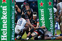 Cory Hill of Dragons celebrates scoring his sides second try of the match  during the European Challenge Cup match between Dragons and Bordeaux Begles at Rodney Parade, Newport, Wales, UK. 20 January 2018