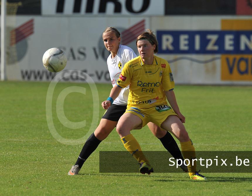 WB Sinaai Girls - WD Lierse SK B : Tina Van Der Auwera voor Jana Janssens.foto Joke Vuylsteke / Vrouwenteam.be