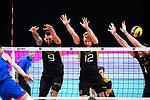 13.09.2019, Paleis 12, BrŸssel / Bruessel<br />Volleyball, Europameisterschaft, Deutschland (GER) vs. Serbien (SRB)<br /><br />Block  / Dreierblock Georg Grozer (#9 GER), Anton Brehme (#12 GER), Christian Fromm (#1 GER)<br /><br />  Foto © nordphoto / Kurth
