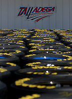 Apr 28, 2006; Talladega, AL, USA; Goodyear tires sit in the Nascar Nextel Cup garage area during practice for the Aarons 499 at Talladega Superspeedway. Mandatory Credit: Mark J. Rebilas-US PRESSWIRE Copyright © 2006 Mark J. Rebilas.