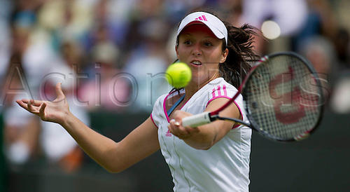24.06.2011. Laura Robson GBR v Maria Sharapova RUS (5). Maria won 76,63. Laura in action. The Wimbledon Tennis Championships held at The All England Lawn Tennis and Croquet Club.  - 24.06.2011 - TENNIS - Day Five - All England Lawn Tennis and Croquet Club, London, England