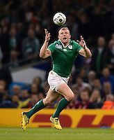 Keith Earls of Ireland looks to gather the ball. Rugby World Cup Pool D match between France and Ireland on October 11, 2015 at the Millennium Stadium in Cardiff, Wales. Photo by: Patrick Khachfe / Onside Images