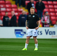 Elliott Durrell during the pre-match warm-up<br /> <br /> Photographer Andrew Vaughan/CameraSport<br /> <br /> The EFL Sky Bet League Two - Lincoln City v Macclesfield Town - Saturday 30th March 2019 - Sincil Bank - Lincoln<br /> <br /> World Copyright © 2019 CameraSport. All rights reserved. 43 Linden Ave. Countesthorpe. Leicester. England. LE8 5PG - Tel: +44 (0) 116 277 4147 - admin@camerasport.com - www.camerasport.com