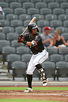 Fayetteville Woodpeckers Miguelangel Sierra (3) at bat during a Carolina League game against the Down East Wood Ducks on August 13, 2019 at SEGRA Stadium in Fayetteville, North Carolina.  Fayetteville defeated Down East 5-3.  (Mike Janes/Four Seam Images)