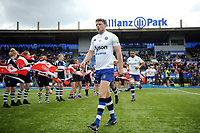 Rhys Priestland and the rest of the Bath Rugby team run onto the field. Aviva Premiership match, between Saracens and Bath Rugby on April 15, 2018 at Allianz Park in London, England. Photo by: Patrick Khachfe / Onside Images