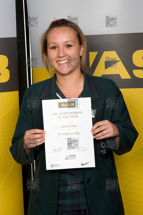 Girls Golf winner Larissa Eruera from St Cuthbert's College. ASB College Sport Young Sportperson of the Year Awards 2008 held at Eden Park, Auckland, on Thursday November 13th, 2008.