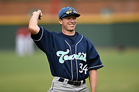 Left fielder Brett Stephens (34) of the Asheville Tourists warms up before a game against the Greenville Drive on Friday, June 1, 2018, at Fluor Field at the West End in Greenville, South Carolina. Greenville won, 7-4. (Tom Priddy/Four Seam Images)