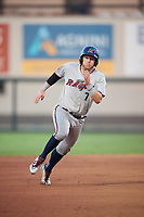 Fort Myers Miracle second baseman Travis Blankenhorn (7) runs the bases during a game against the Lakeland Flying Tigers on August 7, 2018 at Publix Field at Joker Marchant Stadium in Lakeland, Florida.  Fort Myers defeated Lakeland 5-0.  (Mike Janes/Four Seam Images)
