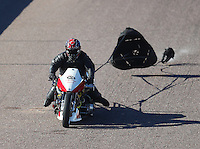 Feb 24, 2017; Chandler, AZ, USA; NHRA top fuel nitro Harley Davidson rider Kevin Boyer during qualifying for the Arizona Nationals at Wild Horse Pass Motorsports Park. Mandatory Credit: Mark J. Rebilas-USA TODAY Sports