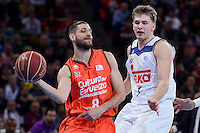 Real Madrid's Luka Doncic and Valencia Basket's Antoine Diot during Quarter Finals match of 2017 King's Cup at Fernando Buesa Arena in Vitoria, Spain. February 19, 2017. (ALTERPHOTOS/BorjaB.Hojas)