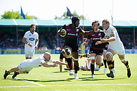 Maro Itoje of Saracens takes on the Wasps defence to score a try. Aviva Premiership Semi Final, between Saracens and Wasps on May 19, 2018 at Allianz Park in London, England. Photo by: Patrick Khachfe / JMP