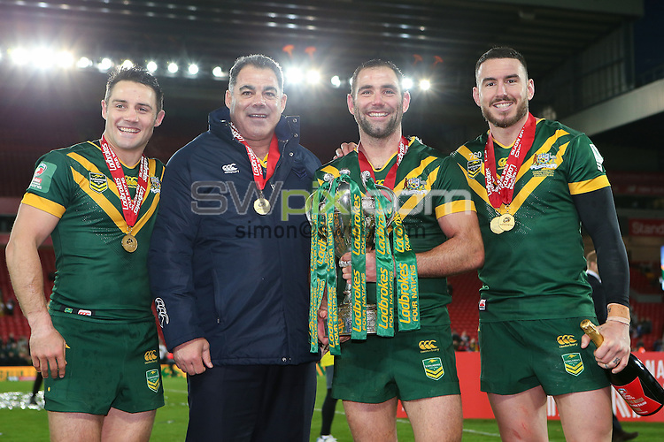 Picture by Alex Whitehead/SWpix.com - 20/11/2016 - Rugby League - Ladbrokes Four Nations Final - Australia v New Zealand - Anfield, Liverpool, England - Australia's Cooper Cronk, Mal Meninga, Cameron Smith and Darius Boyd celebrate with the trophy.