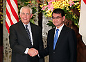 November 5, 2017, Tokyo, Japan - U.S. Secretary of State Rex Tillerson shakes hands with Japanese Foreign Minister Taro Kono prior to their working dinner at the Iikura guesthouse in Tokyo on Sunday, November 5, 2017. U.S. President Donald Trump arrived here on a three-day official visit to Japan for the first leg of his Asian tour.    (Photo by Yoshio Tsunoda/AFLO) LWX -ytd-