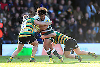Opeti Fonua of Leicester Tigers takes on the Northampton Saints defence. Aviva Premiership match, between Northampton Saints and Leicester Tigers on April 16, 2016 at Franklin's Gardens in Northampton, England. Photo by: Patrick Khachfe / JMP