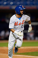 St. Lucie Mets Manny Rodriguez (13) runs to first base during a Florida State League game against the Florida Fire Frogs on April 12, 2019 at First Data Field in St. Lucie, Florida.  Florida defeated St. Lucie 10-7.  (Mike Janes/Four Seam Images)