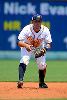 Montgomery Biscuits third baseman Riccio Torrez #4 during a game against the Mobile BayBears on April 16, 2013 at Riverwalk Stadium in Montgomery, Alabama.  Montgomery defeated Mobile 9-3.  (Mike Janes/Four Seam Images)
