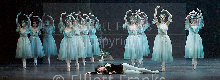 Giselle <br /> English National Ballet at The London Coliseum, London, Great Britain <br /> rehearsal <br /> 10th January 2017 <br /> <br /> <br /> <br /> Isaac Hernandez as Albrecht <br /> <br /> and the Wilis <br /> <br /> <br /> Photograph by Elliott Franks <br /> Image licensed to Elliott Franks Photography Services