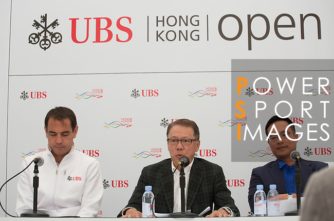 (L-R) Bjoern Waespe, Managing Director of UBS Brand Activation, Sponsorship and Events, Dr. Caleb Chan, Founder of Friends of Asia Hong Kong, and Kenneth Lam, Captain of the Hong Kong Golf Club, take part in the Charity Cup press conference on the sidelines of the 58th UBS Hong Kong Golf Open as part of the European Tour on 10 December 2016, at the Hong Kong Golf Club, Fanling, Hong Kong, China. Photo by Vivek Prakash / Power Sport Images