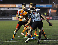 Toyota Cheetahs&rsquo; Paul Schoeman under pressure from Cardiff Blues&rsquo; Ellis Jenkins<br /> <br /> Photographer Kevin Barnes/CameraSport<br /> <br /> Guinness Pro14  Round 14 - Cardiff Blues v Toyota Cheetahs - Saturday 10th February 2018 - Cardiff Arms Park - Cardiff<br /> <br /> World Copyright &copy; 2018 CameraSport. All rights reserved. 43 Linden Ave. Countesthorpe. Leicester. England. LE8 5PG - Tel: +44 (0) 116 277 4147 - admin@camerasport.com - www.camerasport.com