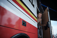 Maxime Monfort (BEL/Lotto-Soudal) sticking his head out of the teambus pre-race to get the soigneurs attention<br />  <br /> 2015 Giro<br /> stage 5: La Spezia - Abetone (152km)