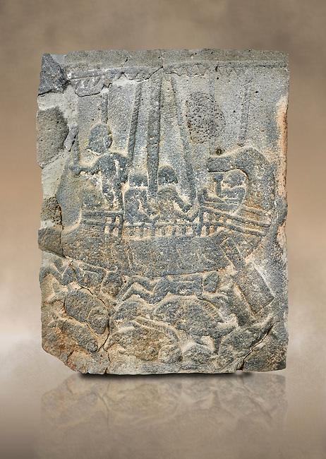 Pictures & images of the North Gate Hittite sculpture stele depicting a ship with fish. 8the century BC.  Karatepe Aslantas Open-Air Museum (Karatepe-Aslantaş Açık Hava Müzesi), Osmaniye Province, Turkey. Against art background