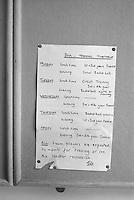Boys' football training schedule, Whitworth Comprehensive School, Whitworth, Lancashire.  1970.