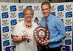 St Johnstone FC Players Awards Night...01.05.11  Lovatt Hotel Perth..Steven Anderson is presented with the Jeanfield 208 Supporters Club Player of the Year Award from Gert Gordon..Picture by Graeme Hart..Copyright Perthshire Picture Agency.Tel: 01738 623350  Mobile: 07990 594431