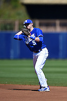 Indiana State Sycamores infielder Derek Hannahs (5) throws to first during a game against the Vanderbilt Commodores on February 21, 2015 at Charlotte Sports Park in Port Charlotte, Florida.  Indiana State defeated Vanderbilt 8-1.  (Mike Janes/Four Seam Images)