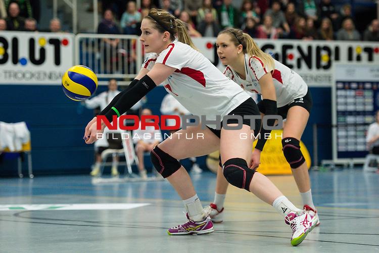 21.02.2015, Halle Berg Fidel, Muenster<br /> Volleyball, Bundesliga Frauen, USC MŸnster / Muenster vs. Rote Raben Vilsbiburg<br /> <br /> Annahme Kyla Elizabeth Richey (#7 Vilsbiburg)<br /> <br />   Foto &copy; nordphoto / Kurth