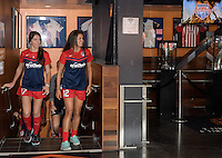 Houston, TX - Thursday Oct. 06, 2016: Cali Farquharson, Katie Stengel during media day prior to the National Women's Soccer League (NWSL) Championship match between the Washington Spirit and the Western New York Flash at BBVA Compass Stadium.