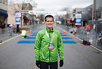 NWA Democrat-Gazette/CHARLIE KAIJO Jeff Kent of Fayetteville poses for a portrait after placing first during the The 42nd annual Hogeye Marathon, Saturday, April 14, 2018 in Downtown Springdale.