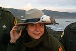 naturalist with rat on stetson hat at Ano Nuevo State Reserve