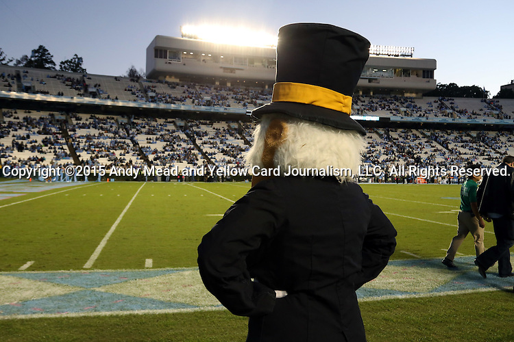 17 October 2015: Wake Forest's Demon Deacon surveys the field. The University of North Carolina Tar Heels hosted the Wake Foresst University Demon Deacons at Kenan Memorial Stadium in Chapel Hill, North Carolina in a 2015 NCAA Division I College Football game. UNC won the game 50-14.