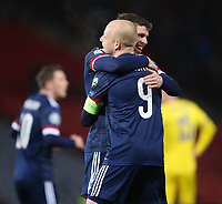 19th November 2019; Hampden Park, Glasgow, Scotland; European Championships 2020 Qualifier, Scotland versus Kazakhstan; Steven Naismith of Scotland celebrates with Ryan Christie of Scotland after he puts Scotland into the lead, making it 2-1 in the 64th minute - Editorial Use