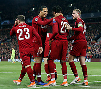Liverpool's Divock Origi celebrates with Virgil van Dijk (left) and Jordan Henderson after scoring his side's fourth goal <br /> <br /> Photographer Rich Linley/CameraSport<br /> <br /> UEFA Champions League Semi-Final 2nd Leg - Liverpool v Barcelona - Tuesday May 7th 2019 - Anfield - Liverpool<br />  <br /> World Copyright &copy; 2018 CameraSport. All rights reserved. 43 Linden Ave. Countesthorpe. Leicester. England. LE8 5PG - Tel: +44 (0) 116 277 4147 - admin@camerasport.com - www.camerasport.com