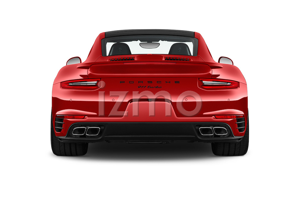 Straight rear view of 2017 Porsche 911 Turbo 2 Door Coupe Rear View  stock images