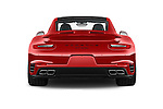 Straight rear view of 2018 Porsche 911 Turbo 2 Door Coupe Rear View  stock images