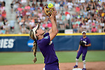 OKLAHOMA CITY, OK - JUNE 04: Taylor Van Zee #3 of the Washington catches a pop up for an out against the Florida State Seminoles during the Division I Women's Softball Championship held at USA Softball Hall of Fame Stadium - OGE Energy Field on June 4, 2018 in Oklahoma City, Oklahoma. (Photo by Tim Nwachukwu/NCAA Photos via Getty Images)