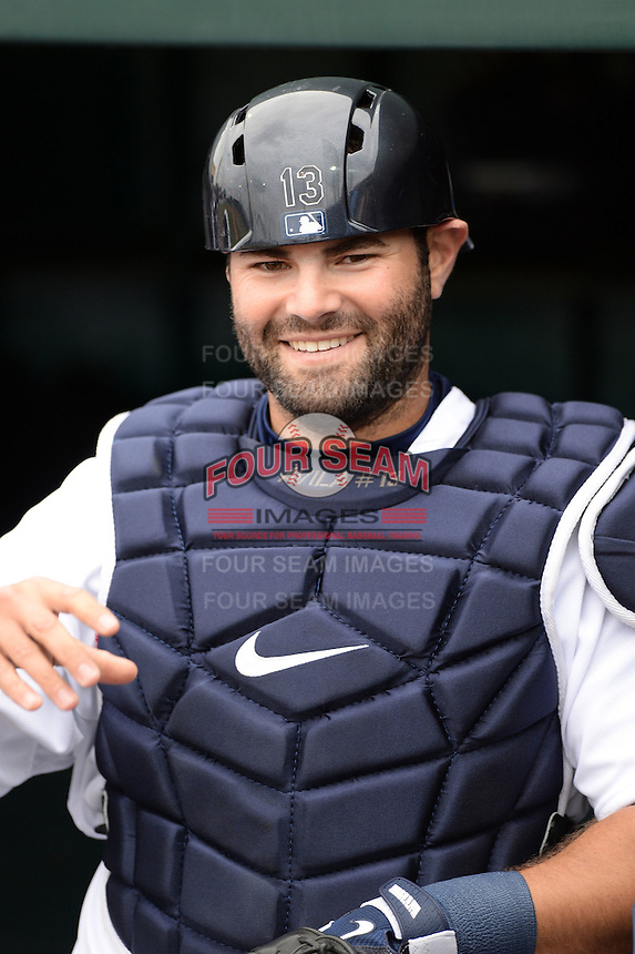Detroit Tigers catcher Alex Avila (13) before a spring training game against the Atlanta Braves on February 27, 2014 at Joker Marchant Stadium in Lakeland, Florida.  Detroit defeated Atlanta 5-2.  (Mike Janes/Four Seam Images)