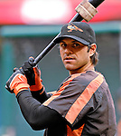 18 May 2007: Baltimore Orioles infielder Brian Roberts warms up prior to facing the Washington Nationals to start off the season's interleague play at RFK Stadium in Washington, DC. The Orioles went on to defeat the Nationals 5-4 in the first game of the 3-game series...Mandatory Photo Credit: Ed Wolfstein Photo