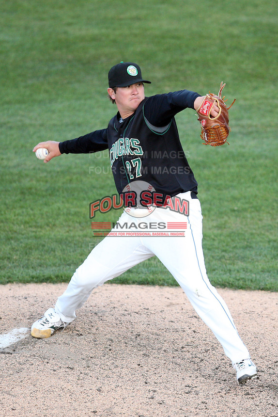 April 17 2010: Josh Lansford of the Kane County Cougars at Elfstrom Stadium in Geneva, IL. The Cougars are the Low A affiliate of the Oakland Athletics. Photo by: Chris Proctor/Four Seam Images