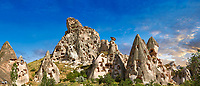 Pictures & images of Uchisar Castle & the cave houses in the rock formations & fairy chimney of Uchisar, near Goreme, Cappadocia, Nevsehir, Turkey