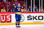 Stockholm 2014-05-03 Ishockey Oddset Hockey Games  Sverige - Finland :  <br /> Sveriges Oscar M&ouml;ller jublar efter att ha kvitterat till 1-1<br /> (Foto: Kenta J&ouml;nsson) Nyckelord:  Oddset Hockey Games Sverige Swe Tre Kronor Finland Fin Globen Ericsson Globe Arena jubel gl&auml;dje lycka glad happy