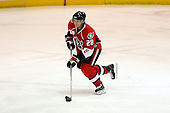February 22nd 2008:  Lawrence Nycholat (28) of the Binghamton Senators skates up ice during a game vs. the Rochester Amerks at Blue Cross Arena at the War Memorial in Rochester, NY.  The Senators defeated the Amerks 4-0.   Photo copyright Mike Janes Photography