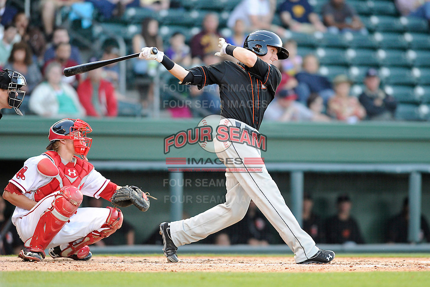 Catcher Chase Weems (8) of the Delmarva Shorebirds bats in a game against the Greenville Drive on Monday, April 29, 2013, at Fluor Field at the West End in Greenville, South Carolina. Greenville won, 3-1. (Tom Priddy/Four Seam Images)
